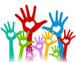 volunteers hands in the air colorful photo