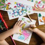 kids creating greeting cards photo