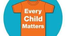 Every Child Matters Logo on Orange Shirt