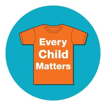 Every Child Matters Logo on Orange Shirt