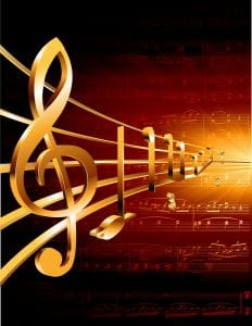 Vector Image of music notes overlaying classical music notes, colored in amber and black