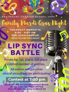 Mardi Gras Lip Sync Competition Poster