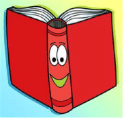 Drawing of Library book with caricature face on spine