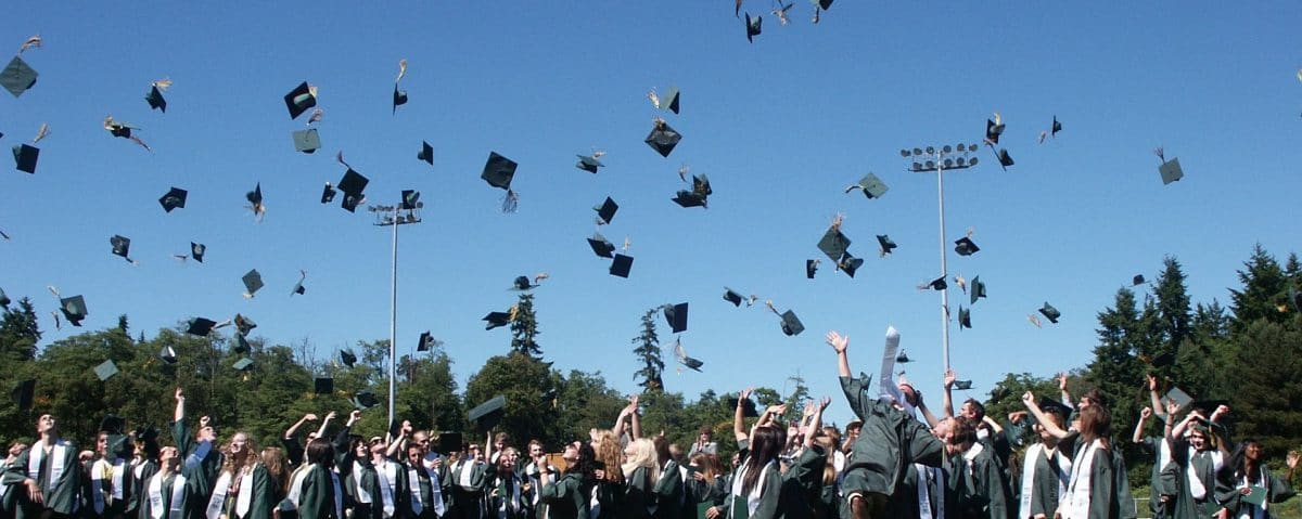 Photo of Graduates Tossing Mortarboards
