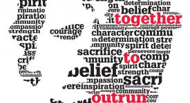 Silhouette of Terry Fox Face in words