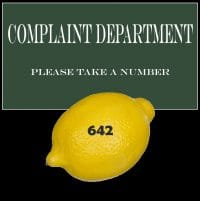 Complaint Department Sign with Lemon