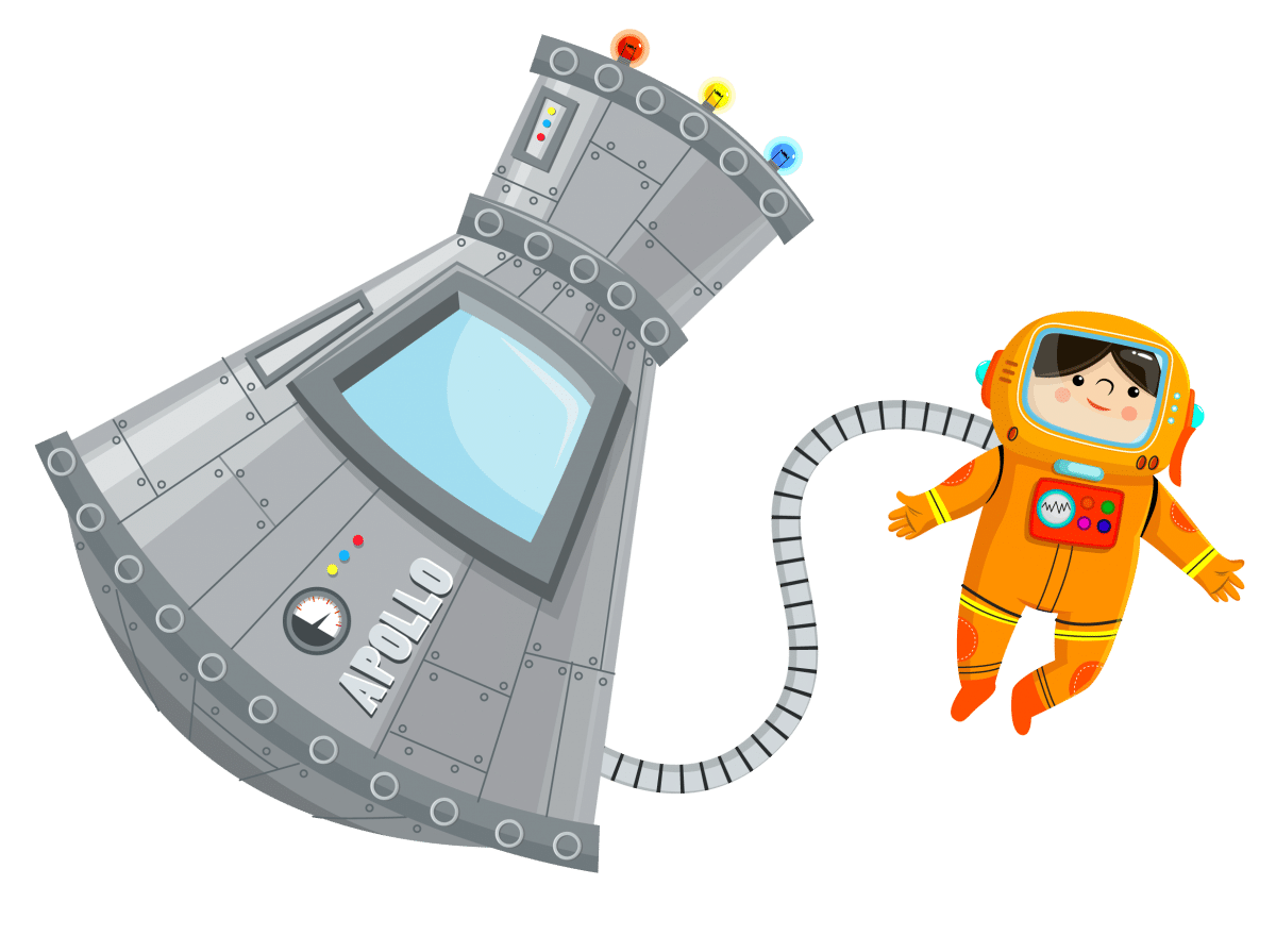 Cartoon Image of man in space tethered to spaceship