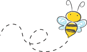 Hand Drawn image of bee flying