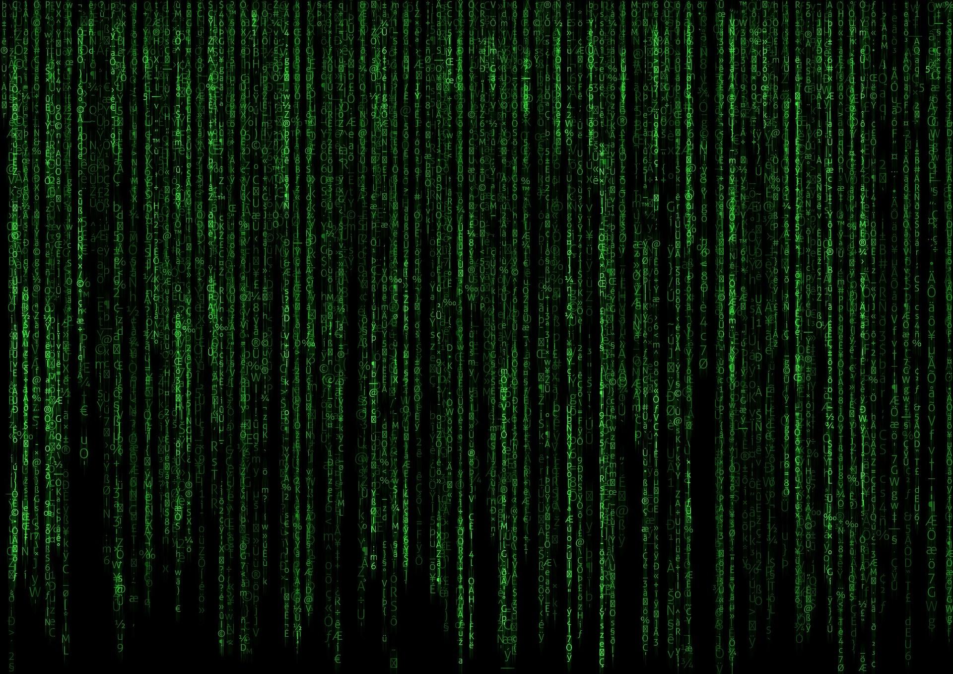 Image of matrix coding on black screen