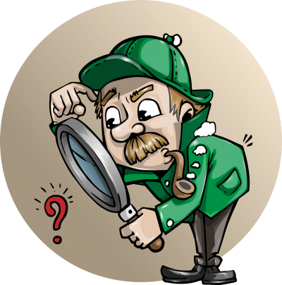 Cartoon image of detective holding magnifying glass