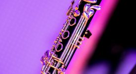 Photo of Clarinet over pink background
