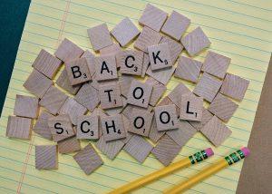 Scrabble tiles spelling Back to School