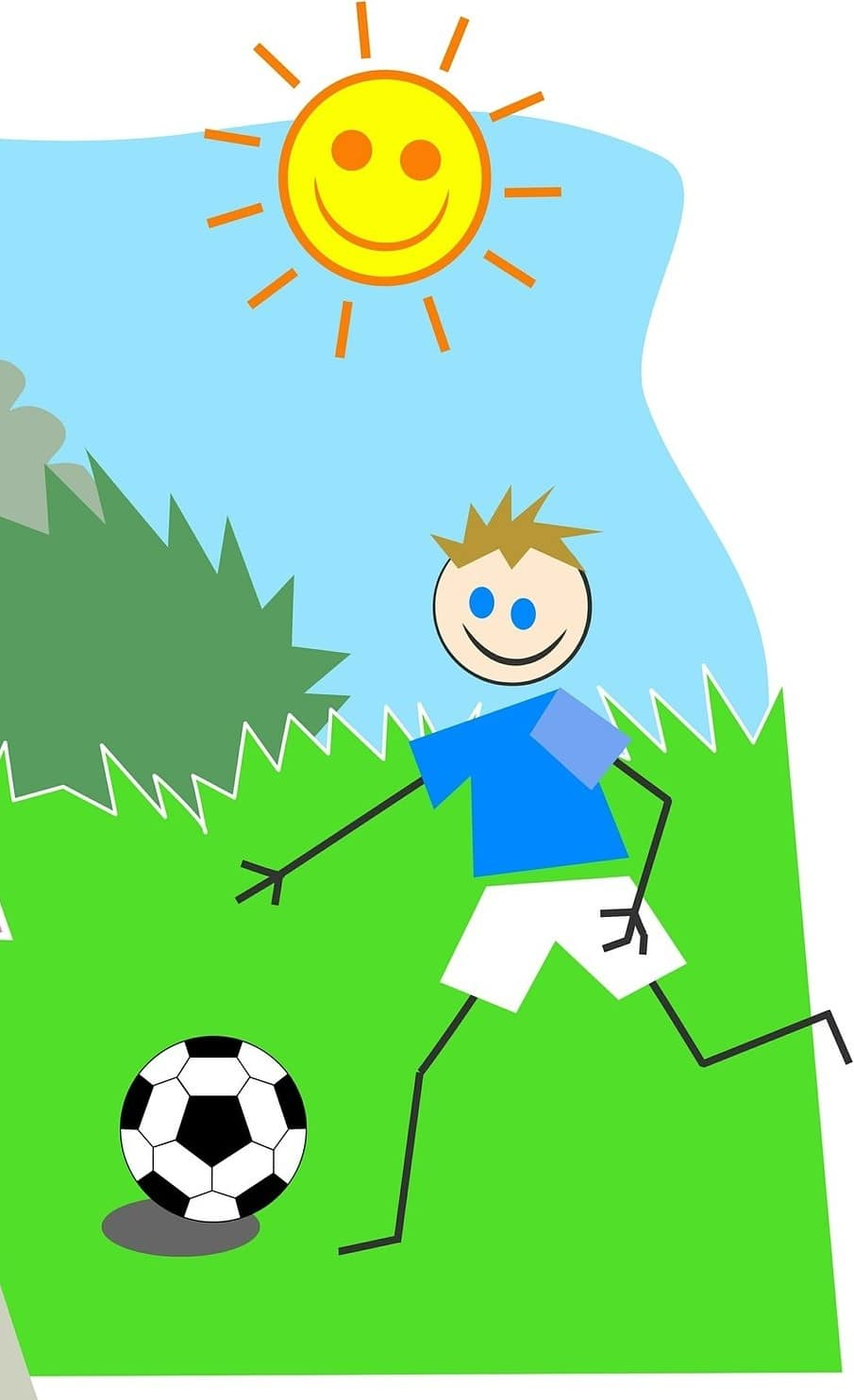 Child's drawing of child playing soccer