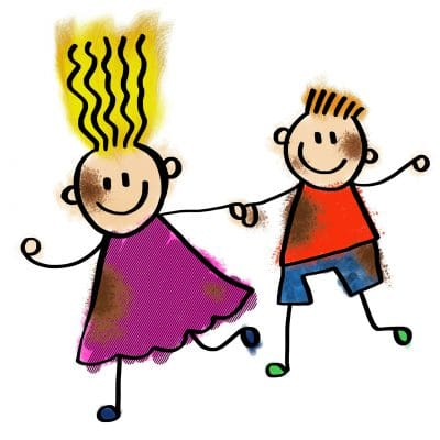 Drawn image of children holding hands