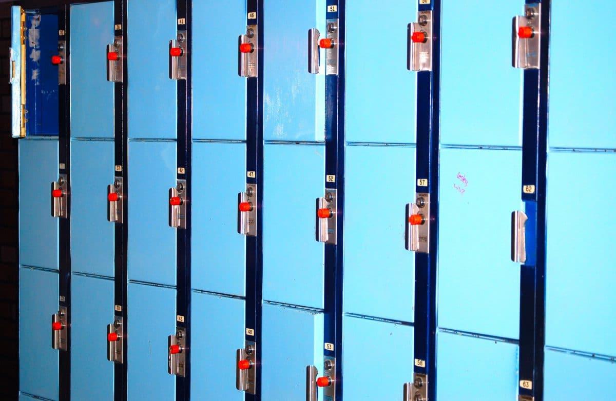 Photo of blue school lockers