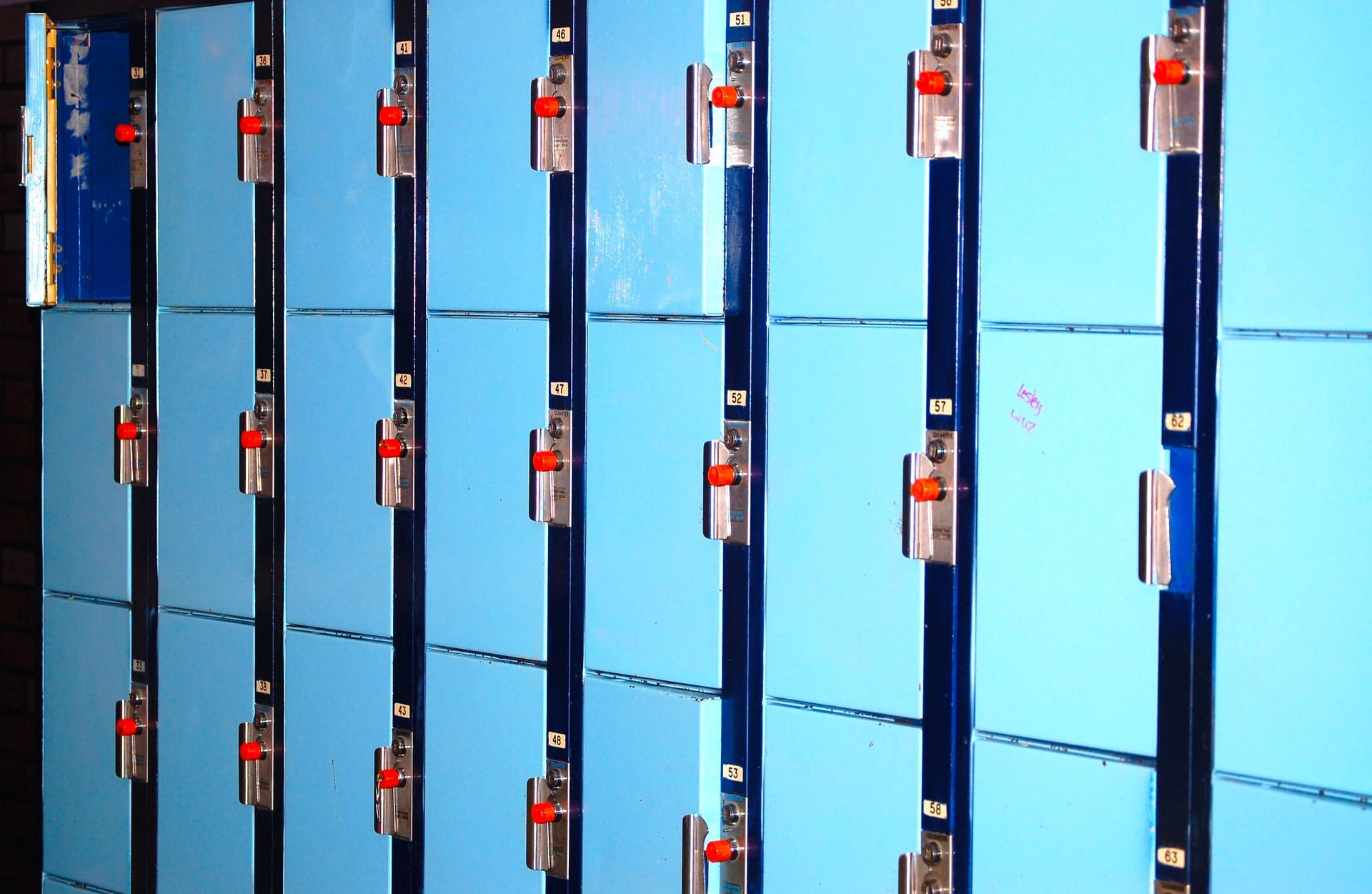 Photo of blue school lockers
