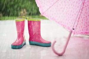 Photo of Rainboots and Umbrella in the Rain