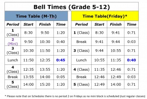 MH Bell Times