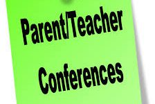 Parent Teacher Conferences Written on Sticky Note