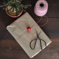 Gift wrapped in brown paper