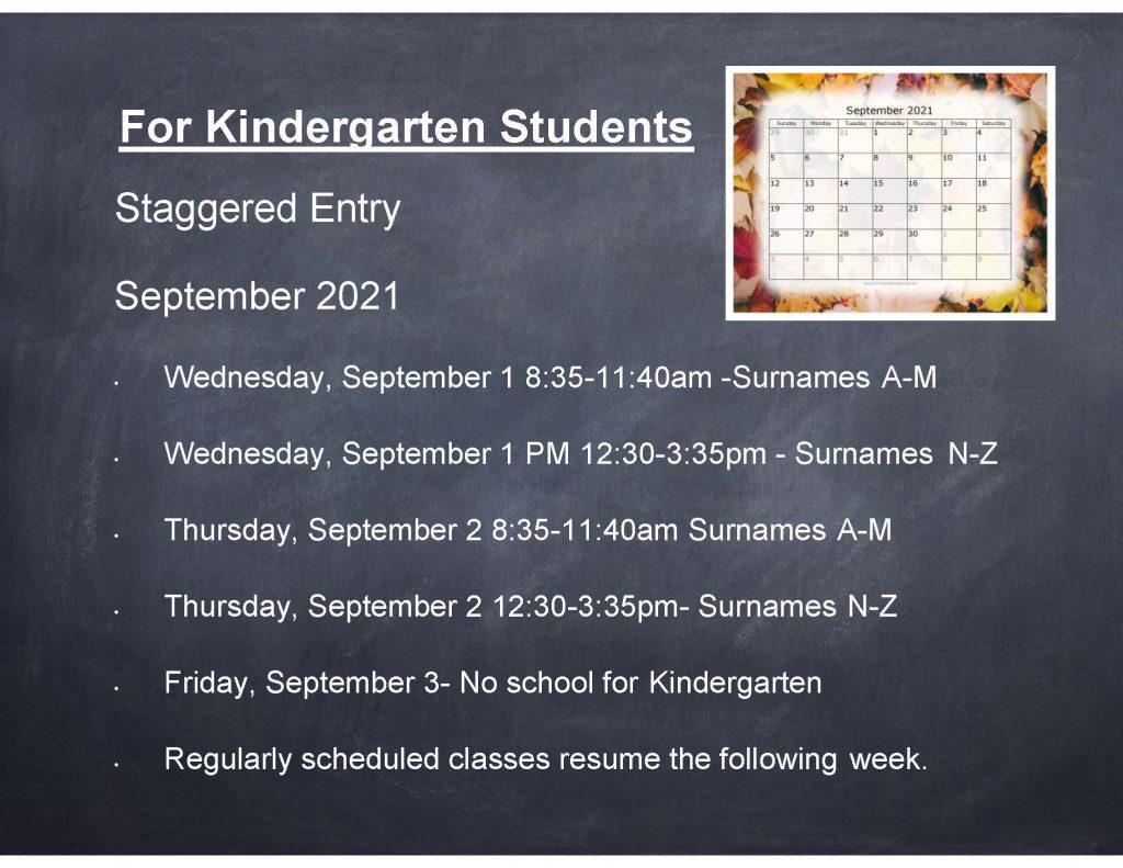 Kindergarten Staggered Entry Banner